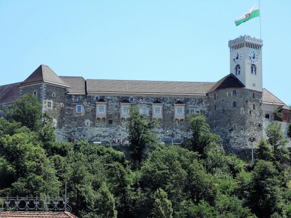 Een blik op het Kasteel van Ljubljana